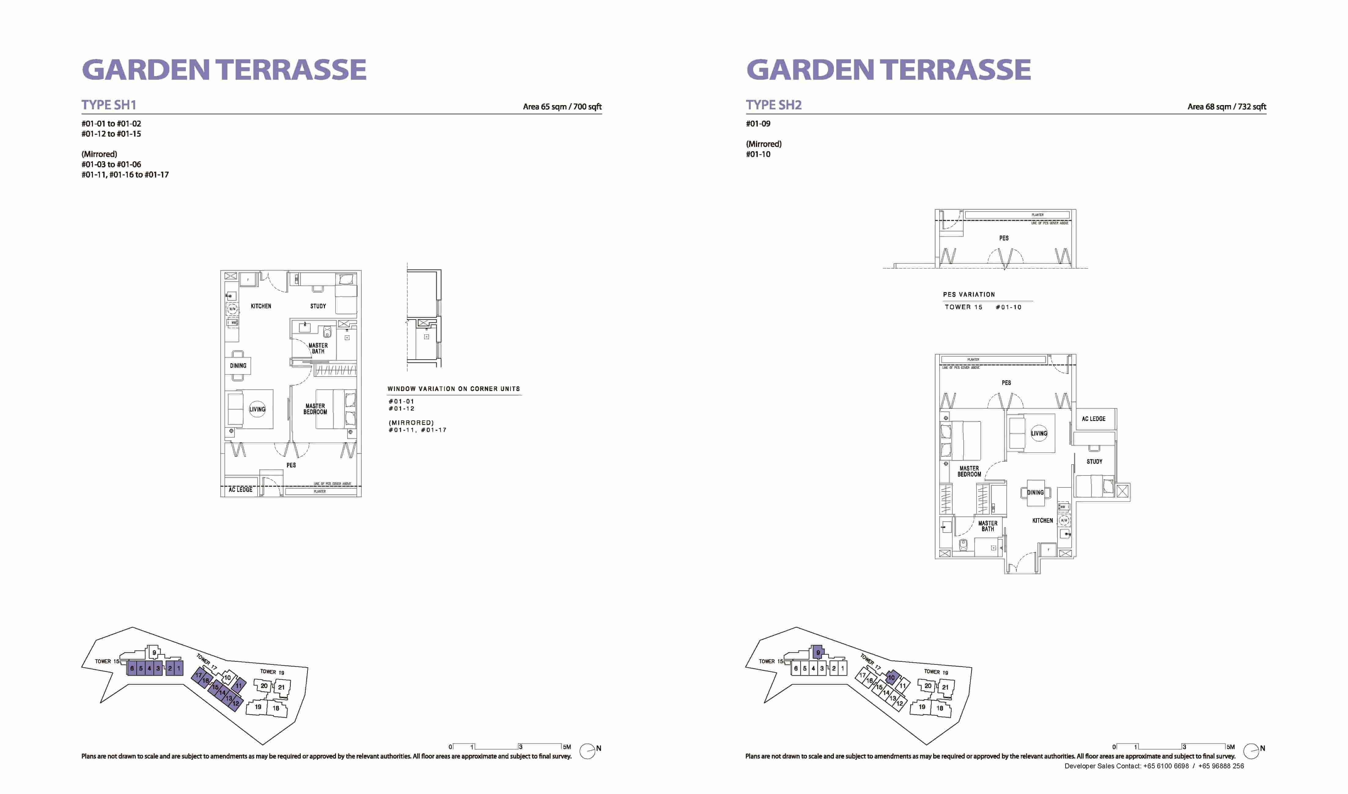Type SH1 & SH2 1+Study, Garden Terrasse