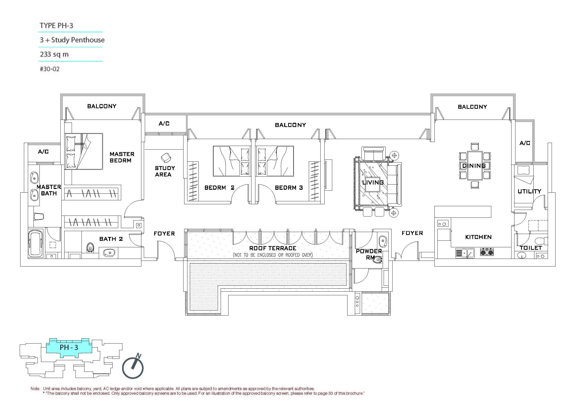#30-02, 3 + Study Penthouse