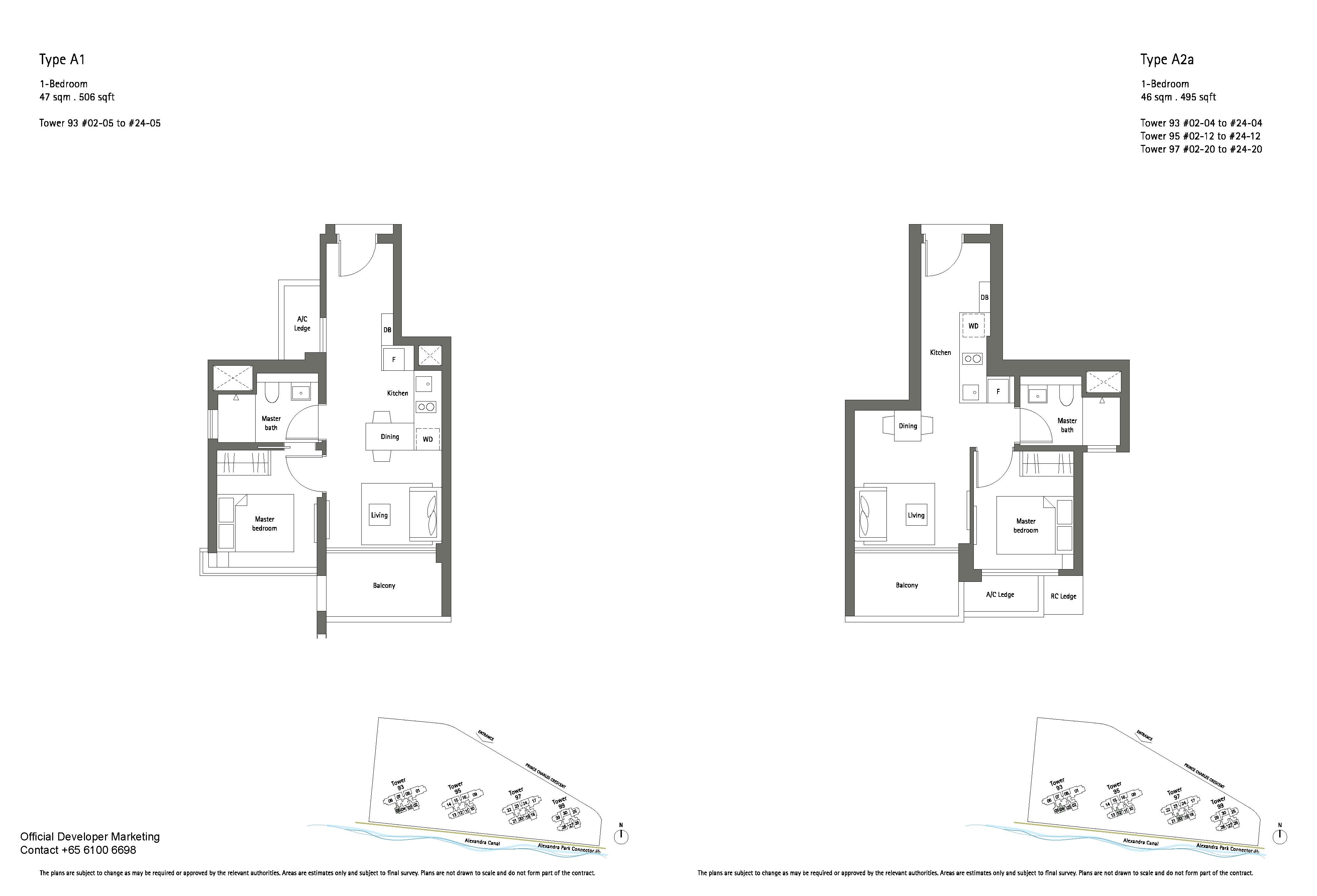 1 Bedroom Type A1 & A2a