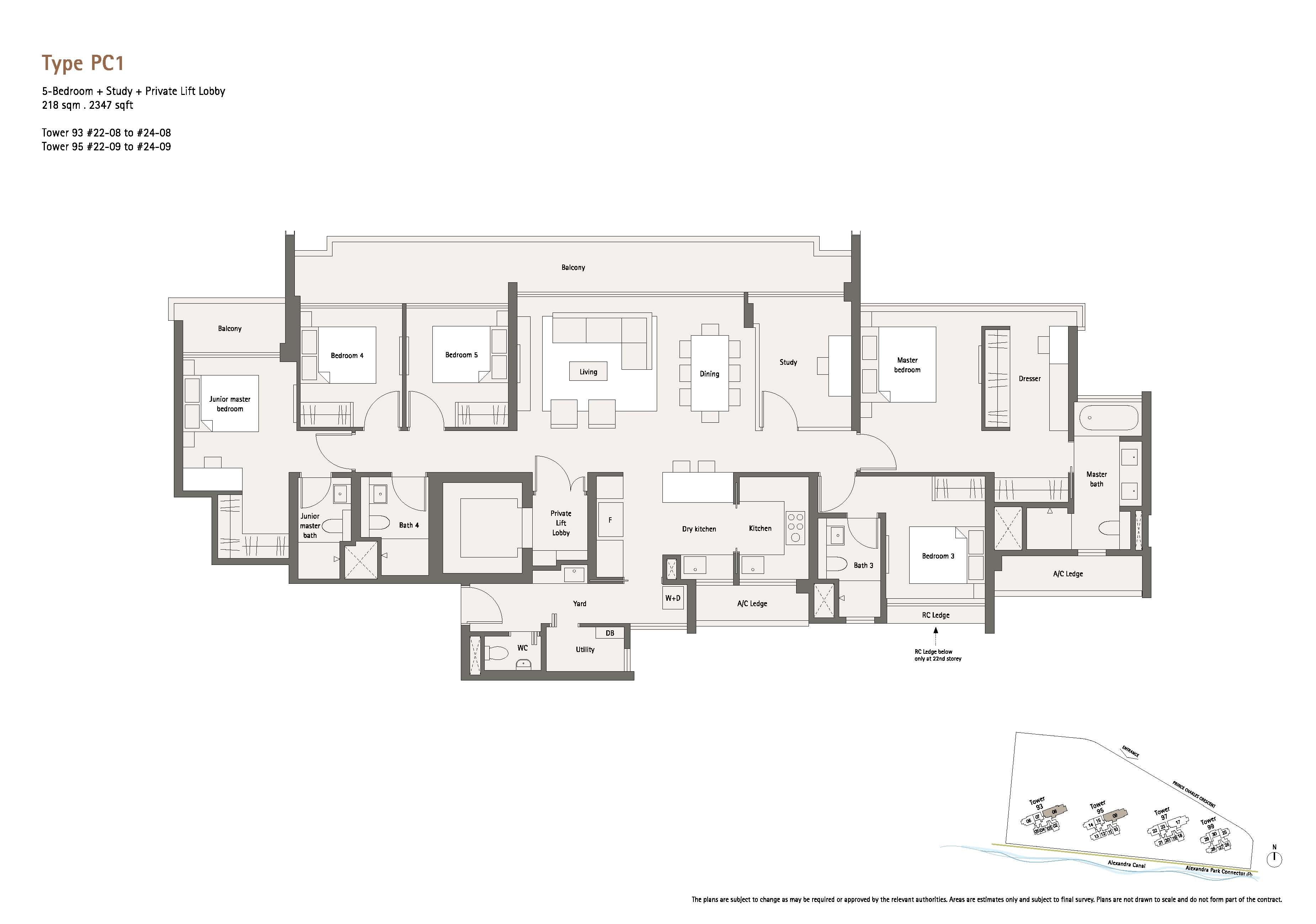 Penthouse 5 Bedrm +Study +Pte Lift