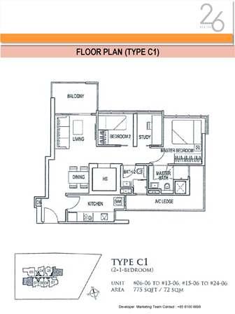 Type C1 2+Study Bedroom