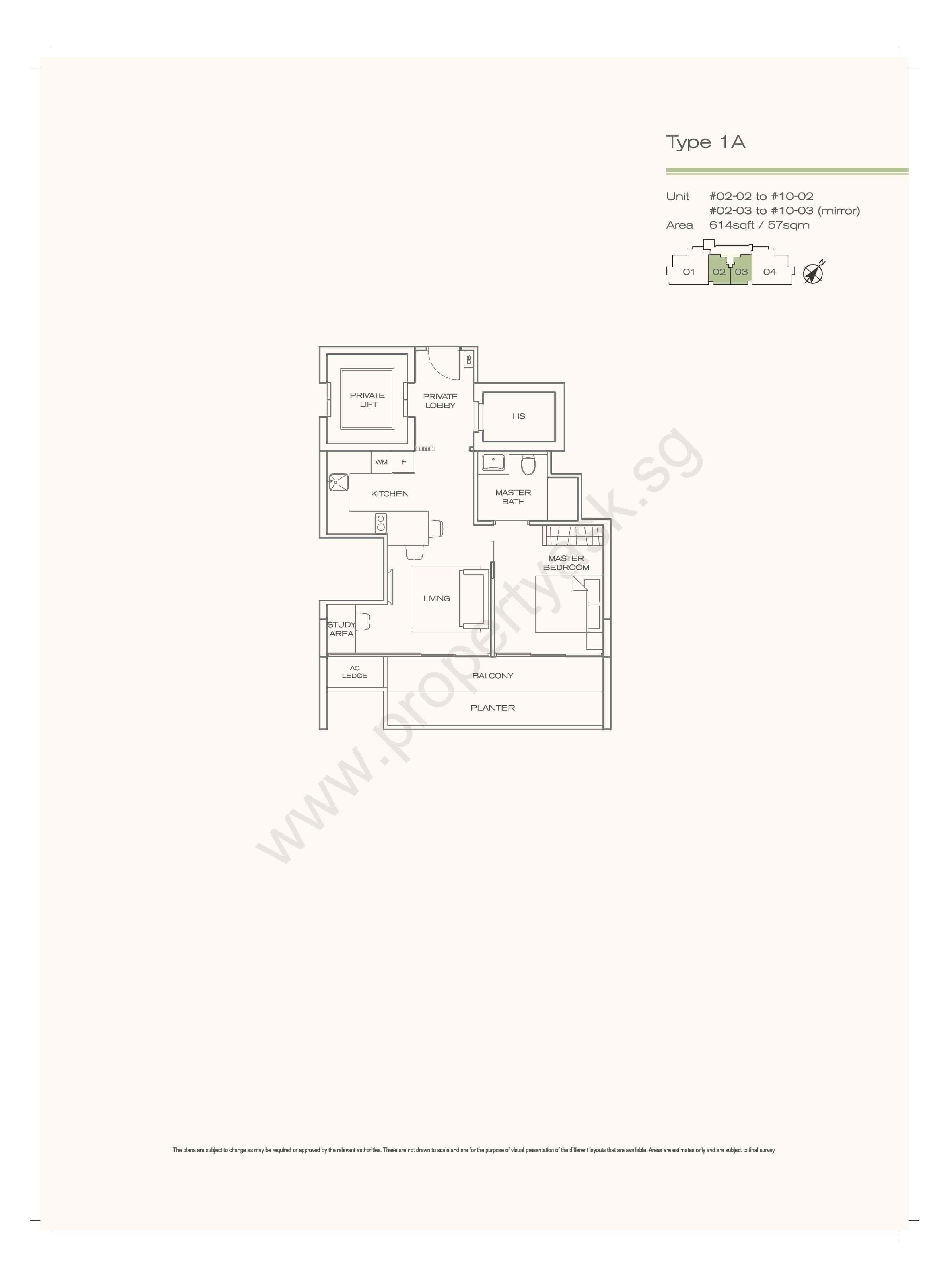 Type 1A - 1 Bedroom Private Lift