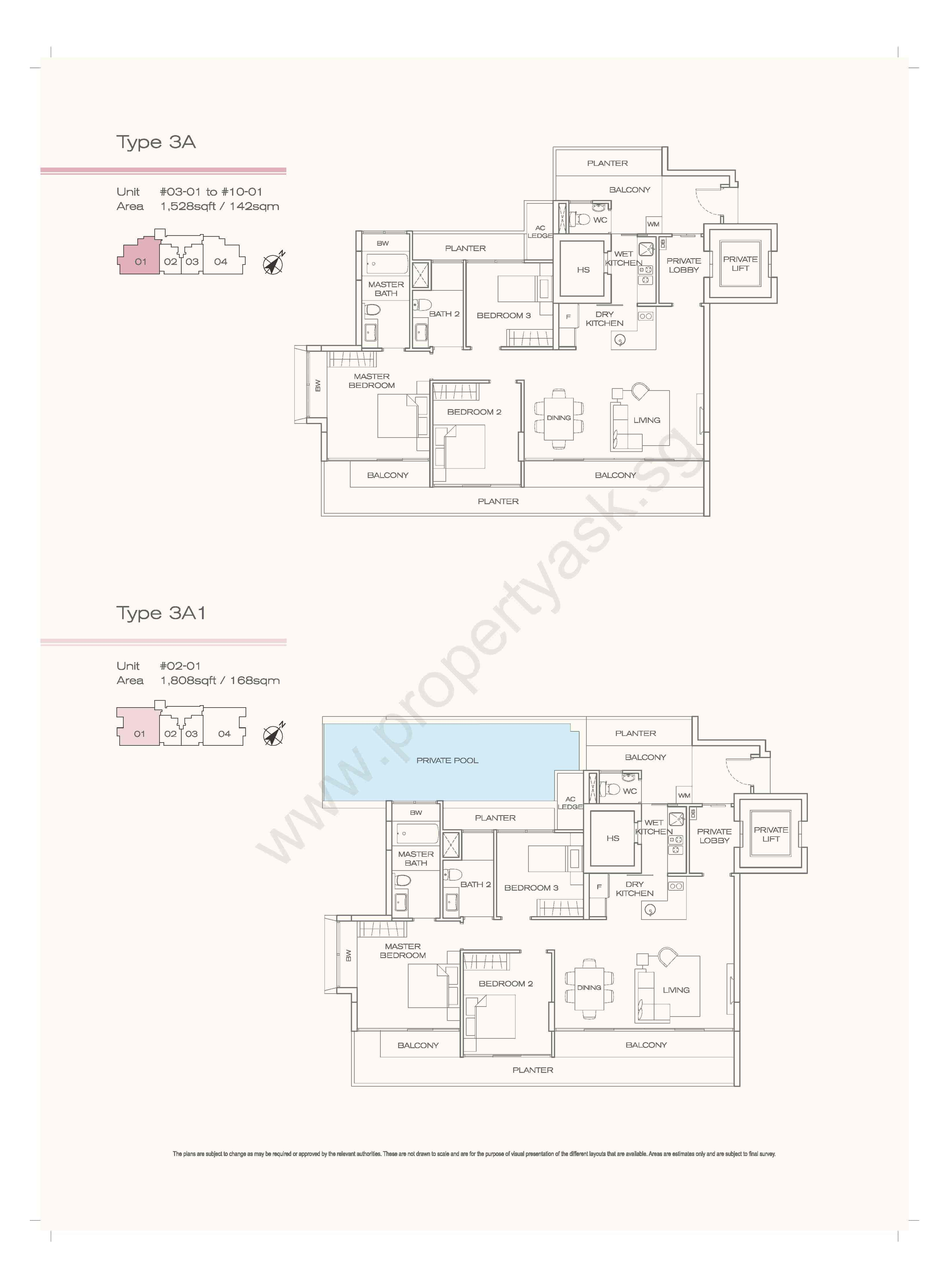 Type 3A - 3 Bedrooms Private Lift