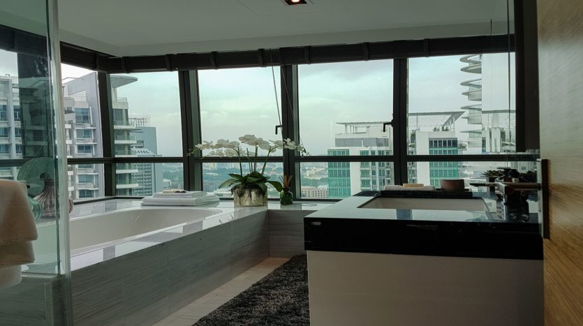 luxurious master bath with view at 8 st thomas 3 bedroom unit
