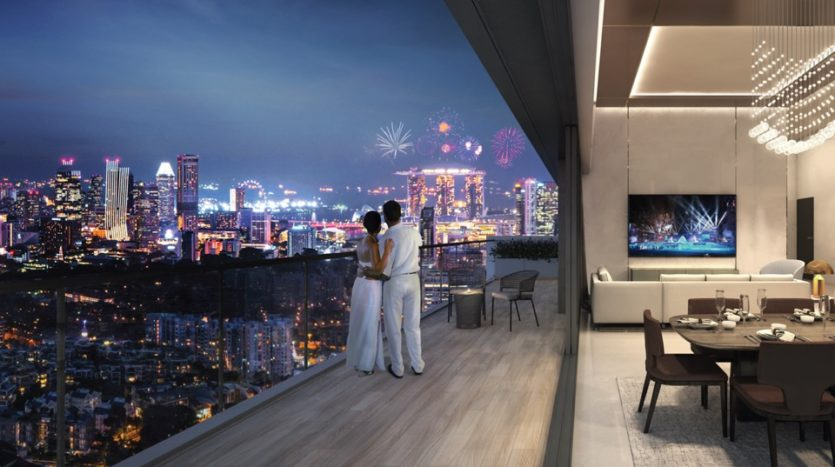 artist impression of view from 8 st thomas penthouse balcony