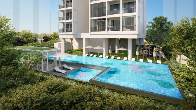 Nyon Condo lap pool during the day
