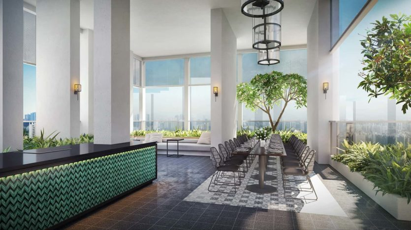 Nyon Condo sky dinning area during day time.