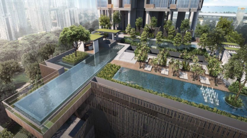 generous landscaping with 50m lap pool at sky everton condo