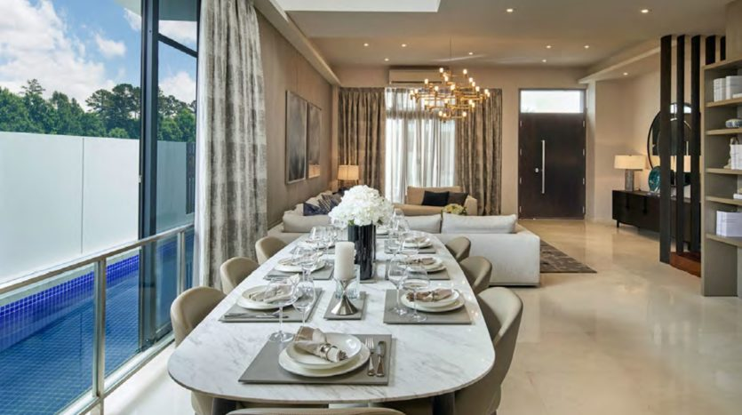 uxus hills landed dinning area well connect with the living hall